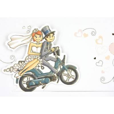 Partecipazione di matrimonio sposi in moto