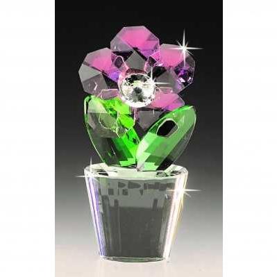 Vasetto fiore con strass in cristallo rose - RANOLDI