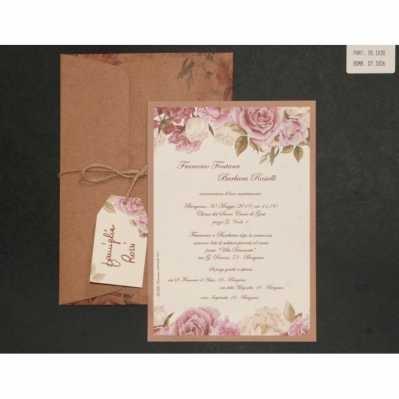 Partecipazione cartoncino singolo con disegni floreali