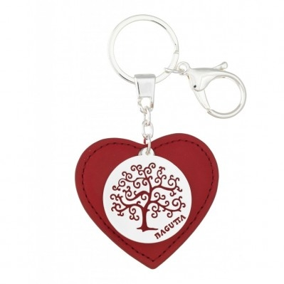 Portachiavi cuore in pelle rossa con scritta sul retro con albero stilizzato in metallo argentato