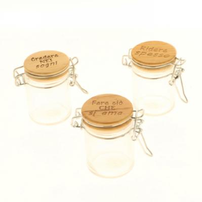 Barattolino portaconfetti in vetro tappo legno scritte