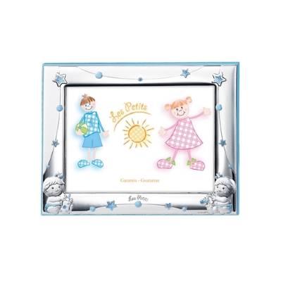 Cornice portafoto 13x18 con bimbi con biberon in azzurro