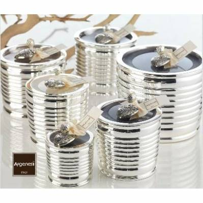 Porta candela BARATTOLO in resina e argento - Bomboniere Argenesi