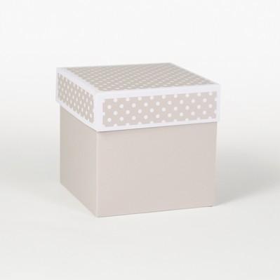 Scatolina fondo e coperchio tortora 10x10x10
