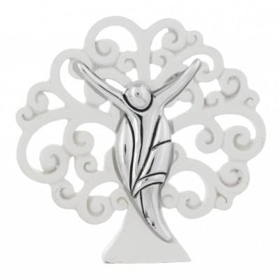 Scultura albero della vita bianco classica con cristo stilizzato