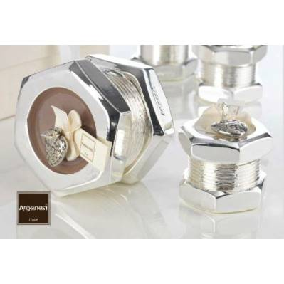 Bomboniera porta candela BOLT in resina e argento - Argenesi