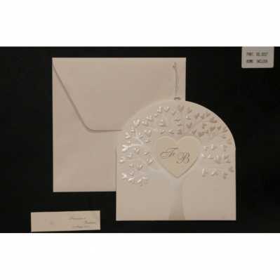 Partecipazione cartoncino avorio chiaro con disegno a rilievo madreperlato albero della vita