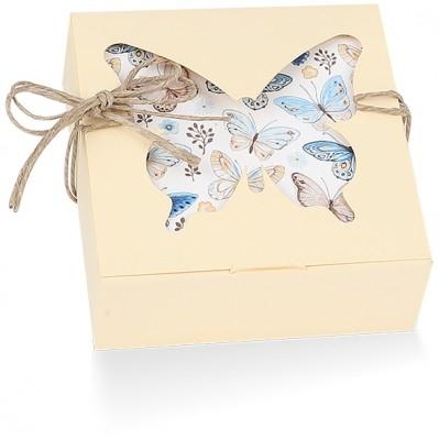 Scatola pieghevole farfalle paglierino