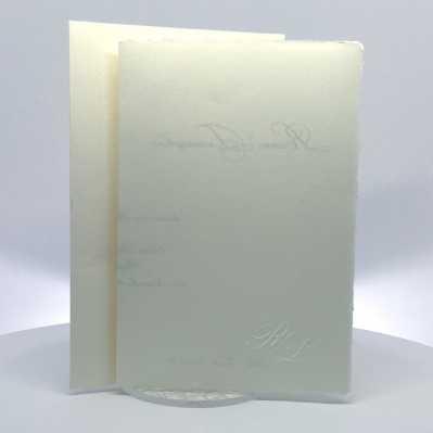 Partecipazione Matrimonio avorio su carta amalfitana rettangolare