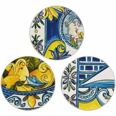 Set 6 sottobicchieri da collezione sicilia blu Baroque&Rock - Baci Milano