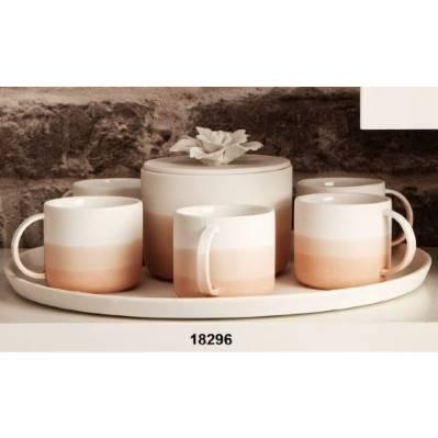 Set 6 tazzine caffè con zuccheriera e vassoio in gres porcellanato