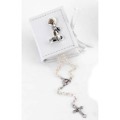 Box scatolina in ecopelle con candela e rosario bomboniera battesimo
