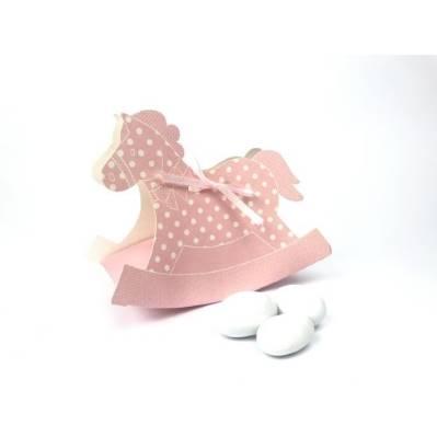 Scatolina Cavallo a dondolo rosa