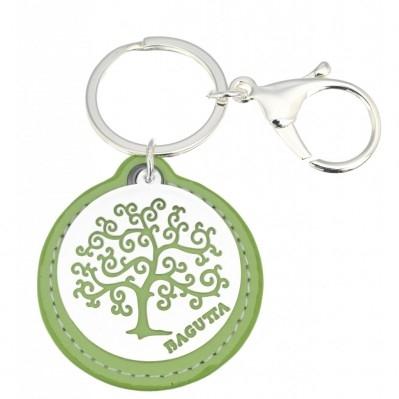 Portachiavi albero della vita stilizzato verde in pelle e metallo argentato