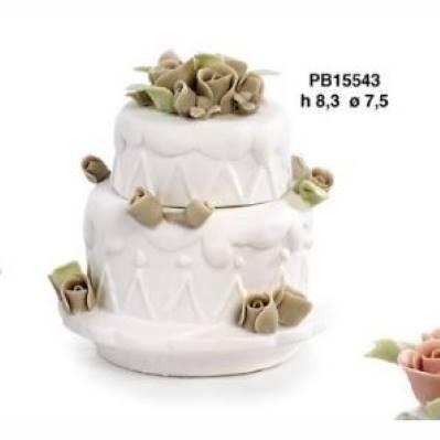 Scatola torta con roselline in porcellana - Mandorle