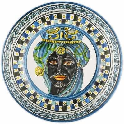 Piatto piano da collezione sicilia blu Baroque&Rock - Baci Milano