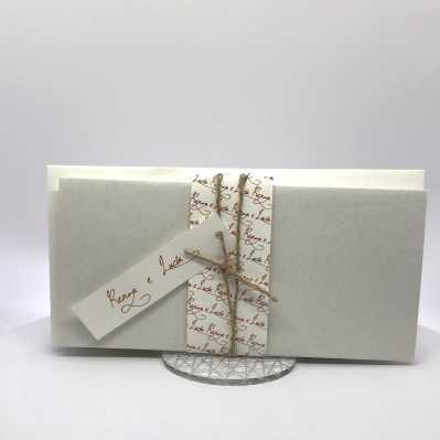 Partecipazione Matrimonio su cartoncino bianco rettangolare