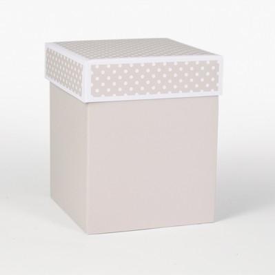 Scatolina fondo e coperchio tortora 12x12x15