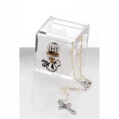 Scatolina in plex con calice comunione e rosario bomboniera