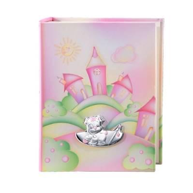 Album portafoto con cagnolino che scrive in rosa - 23x30 cm