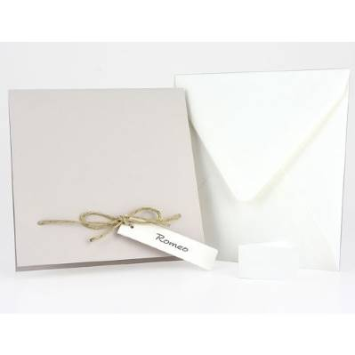 Partecipazione matrimonio quadrata tortora fiocco spago