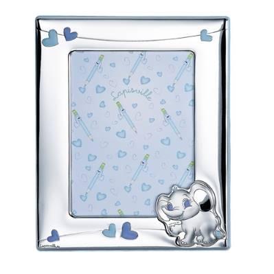 Portafoto 13x18 con elefante e cuoricini in azzurro