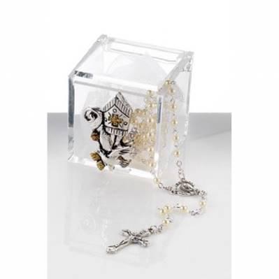 Bomboniera Scatolina in plex con mitra e rosario bomboniera