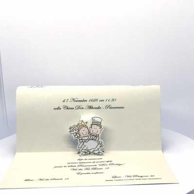 Partecipazione Matrimonio su cartoncino rettangolare a sfondo fiorato