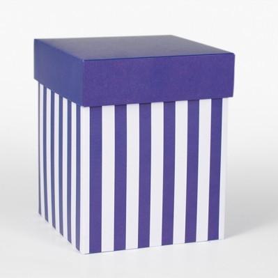 Scatolina fondo e coperchio blu e crema 12x12x15