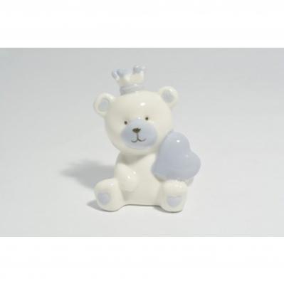 Orsetto cuore azzurro in ceramica - Collezione 2020
