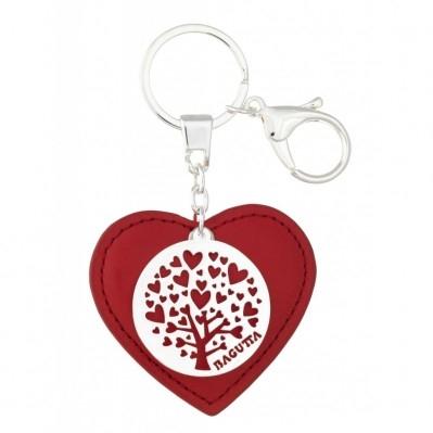 Portachiavi cuore in pelle rossa con scritta sul retro con albero e cuori in metallo argentato