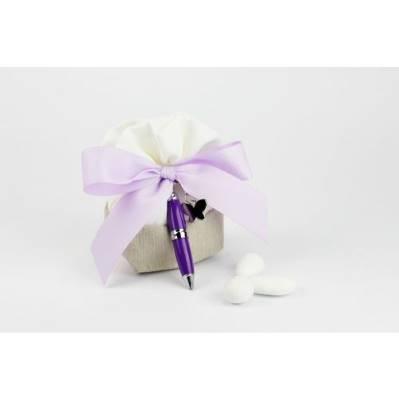 Sacchetto portaconfetti con penna - bomboniera matrimonio / laurea Margot Italia