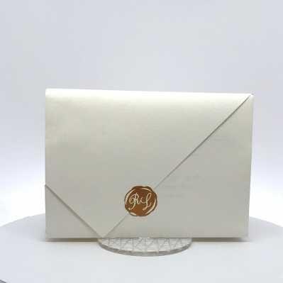 Partecipazione nozze bianca tipo origami
