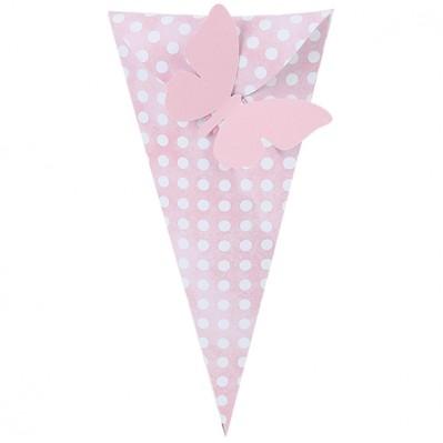 Cono rosa con pois bianchi comprensivo di farfalla bifacciale Rosa/bianco