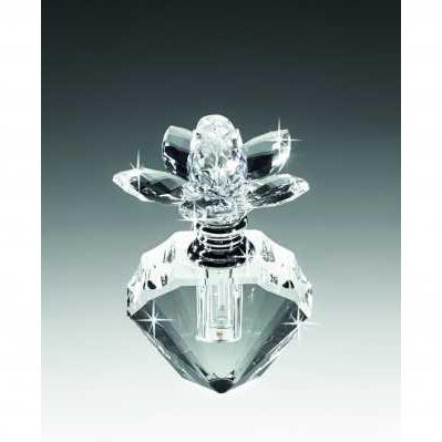 Boccetta in cristallo forma diamante con tappo fiore bianco - RANOLDI
