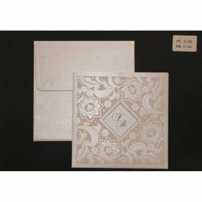 Partecipazione cartoncino setificato con disegni a rilievo