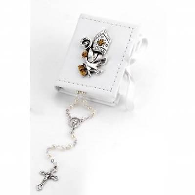 Box scatolina in ecopelle con mitra cresima e rosario bomboniera