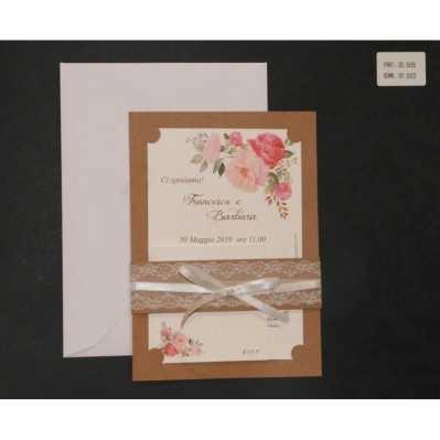 Partecipazione nozze floreale con pizzo e nastro