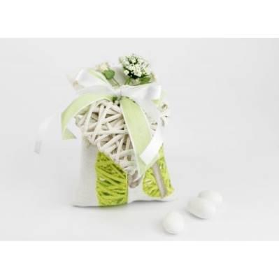 Sacchettino Porta confetti Shabby con cuoricino legno - Matrimonio / 1° Comunione