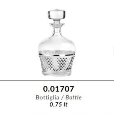 Bottiglia in cristallo GRIFFE e argento puro - Argenesi