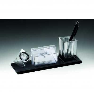 Set da scrivania in cristallo - portapenne - bigliettini da visita - orologio - RANOLDI