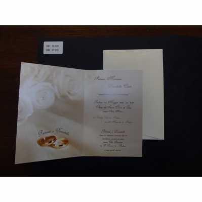 Partecipazione in cartoncino stampato color avorio chiaro fedi