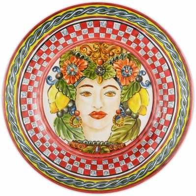 Piatto piano da collezione sicilia rossa Baroque&Rock - Baci Milano