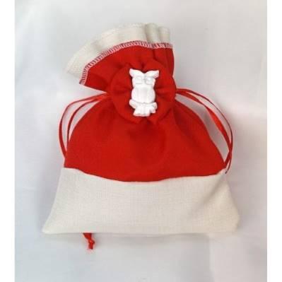 Sacchetto porta confetti bicolore laurea con gufo