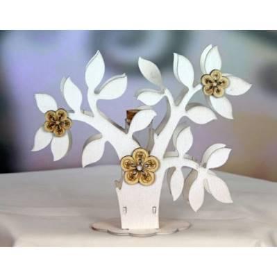 Portaconfetti albero della vita con fiori e fiala in vetro