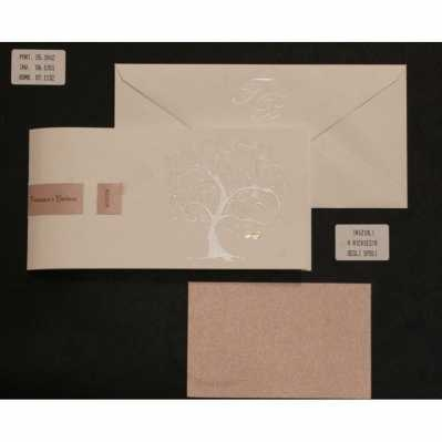 Partecipazione cartoncino avorio albero della vita, interno satinato