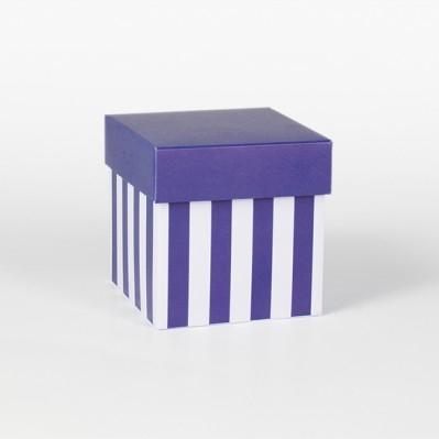 Scatolina fondo e coperchio blu e crema 8x8x8
