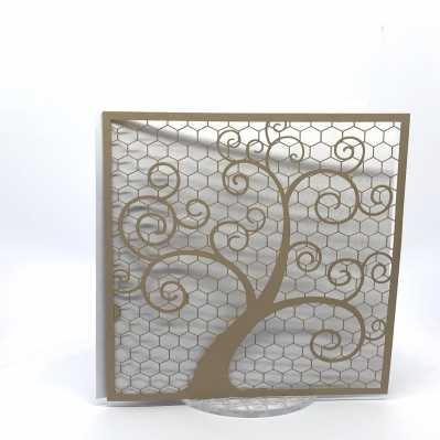 Partecipazione di matrimonio con albero stilizzato taglio laser