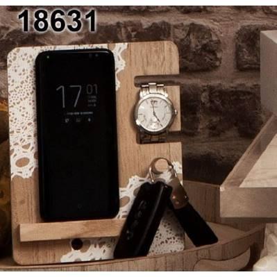 Supporto da scrivania per cellulare, orologio e chiavi