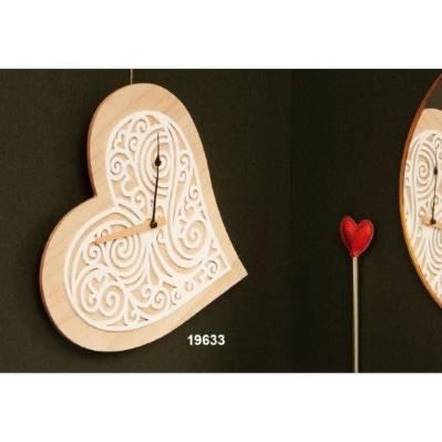 Orologio da parete in legno Cuore
